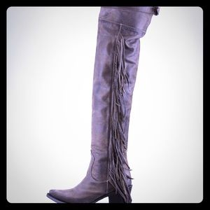 Ash brand butch Austonion thigh high fringe boots